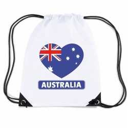 Australie hart vlag nylon rugzak wit