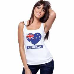 Australie hart vlag singlet shirt/ tanktop wit dames