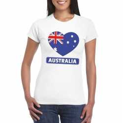 Australie hart vlag t shirt wit dames