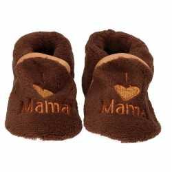 Baby pantoffels/slofjes love mama bruin