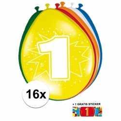 Ballonnen 1 jaar van 30 16 stuks + gratis sticker