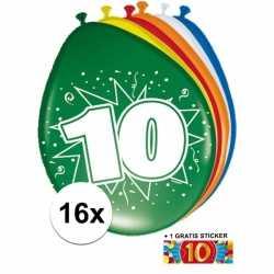 Ballonnen 10 jaar van 30 16 stuks + gratis sticker