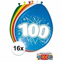 Ballonnen 100 jaar van 30 16 stuks + gratis sticker