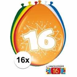 Ballonnen 16 jaar van 30 16 stuks + gratis sticker