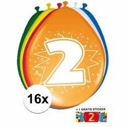 Ballonnen 2 jaar van 30 16 stuks + gratis sticker