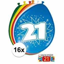 Ballonnen 21 jaar van 30 16 stuks + gratis sticker