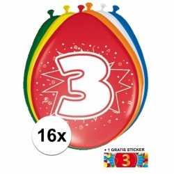 Ballonnen 3 jaar van 30 16 stuks + gratis sticker