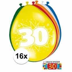 Ballonnen 30 jaar van 30 16 stuks + gratis sticker