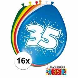 Ballonnen 35 jaar van 30 16 stuks + gratis sticker
