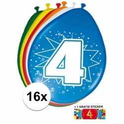 Ballonnen 4 jaar van 30 16 stuks + gratis sticker
