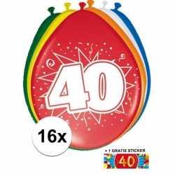 Ballonnen 40 jaar van 30 16 stuks + gratis sticker