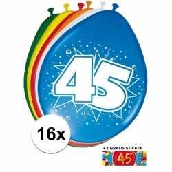 Ballonnen 45 jaar van 30 16 stuks + gratis sticker