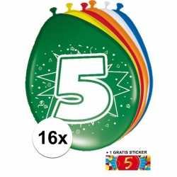 Ballonnen 5 jaar van 30 16 stuks + gratis sticker