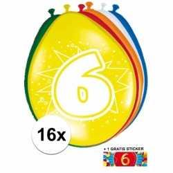 Ballonnen 6 jaar van 30 16 stuks + gratis sticker