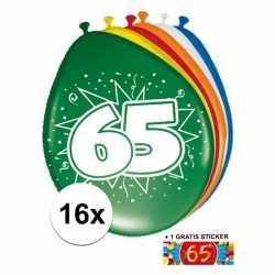 Ballonnen 65 jaar van 30 16 stuks + gratis sticker
