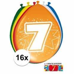 Ballonnen 7 jaar van 30 16 stuks + gratis sticker