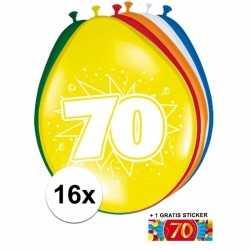Ballonnen 70 jaar van 30 16 stuks + gratis sticker