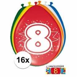 Ballonnen 8 jaar van 30 16 stuks + gratis sticker