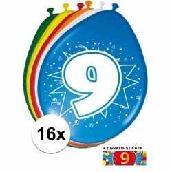 Ballonnen 9 jaar van 30 16 stuks + gratis sticker
