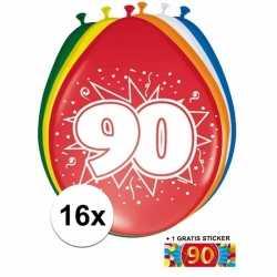 Ballonnen 90 jaar van 30 16 stuks + gratis sticker