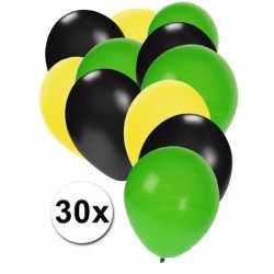 Ballonnen geel/zwart/groen 30 stuks