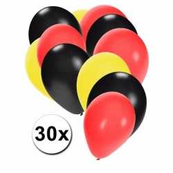Ballonnen zwart/geel/rood 30 stuks