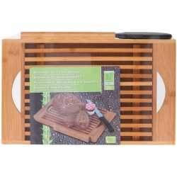 Bamboe houten broodsnijplank kruimelvanger 37 bij 22