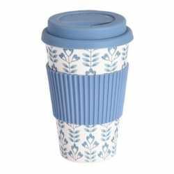Bamboe koffie/thee beker deksel blauw blad