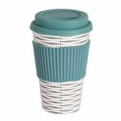 Bamboe koffie/thee beker deksel strepen