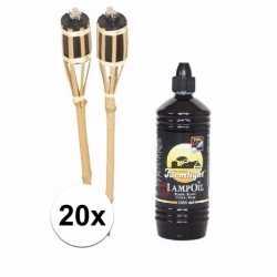Bamboe tuinfakkels set 20 stuks 61 fakkelolie 1 l