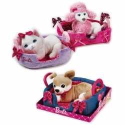 Barbie witte poedel knuffel mandje