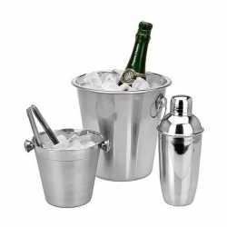 Barset ijsemmer/koelemmer/cocktailshaker