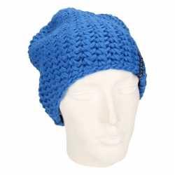 Basic beanie muts kobalt blauw dames