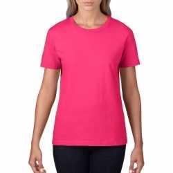 Basic ronde hals t shirt fuchsia roze dames
