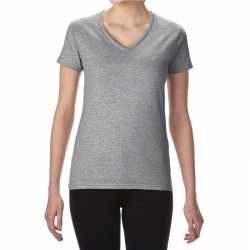 Basic v hals t shirt grijs dames