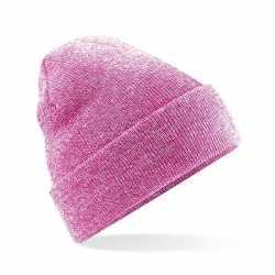 Basic winter muts roze gemeleerd volwassenen