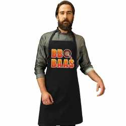 Bbq baas barbecueschort/ keukenschort zwart heren