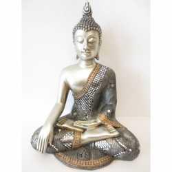 Beeld mediterende Boeddha zilver 34
