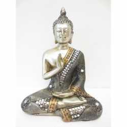 Beeldje mediterende Boeddha zilver 17