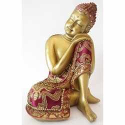 Beeldje slapende Boeddha goud 19