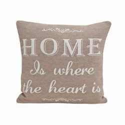 Beige kussentje home is where the heart is 45cm