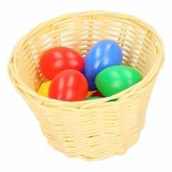 Beige paasmandje gekleurde eieren 14