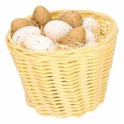 Beige paasmandje plastic kwartel eieren 14cm