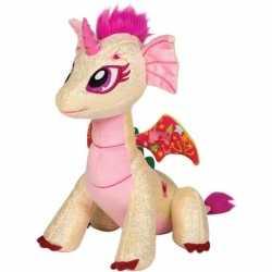 Beige/roze draak knuffel glitter fairy 25