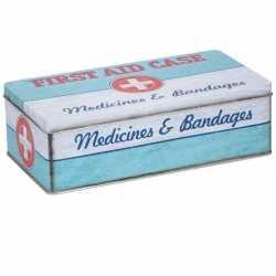 Bewaarblik first aid kit retro print mint groen 26 bij 13