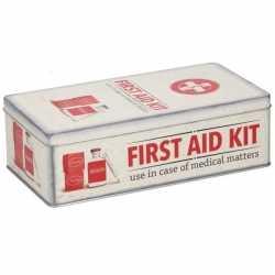 Bewaarblik first aid kit retro print rood / creme 26 bij 13