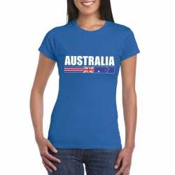 Blauw australie supporter t shirt dames