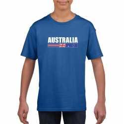 Blauw australie supporter t shirt kinderen