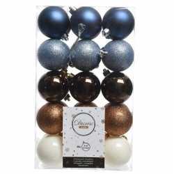 Blauw/bruin/witte kerstversiering kerstballenset kunststof 6