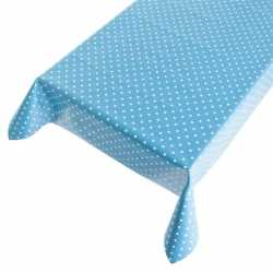 Blauw buiten tafelkleed/tafelzeil polkadot 140 bij 240